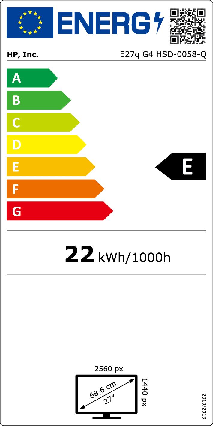"HP  E27q G4 - LED-Monitor - 68.6 cm (27"") - 2560 x 1440 QHD @ 60 Hz} EU-Energielabel"
